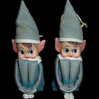 Vintage Knee Hugger Elves Christmas Ornament Pair Japan