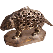 Victorian Silverplate Figural Porcupine Toothpick Holder Meriden B. Co.