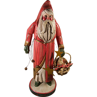 Vintage House of Hatten Folk Art Santa Claus & Goose in a Basket Denise Calla Enchanted Forest Collection Christmas Figure