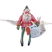 Vintage House of Hatten Folk Art Santa Christmas Ornament  On Flying Goose Denise Calla Enchanted Forest 1988