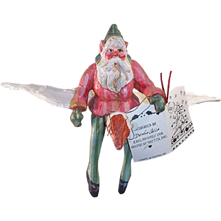 Vintage House of Hatten Folk Art Santa Christmas Ornament  On Flying Goose Denise Calla Enchanted Forest 1988