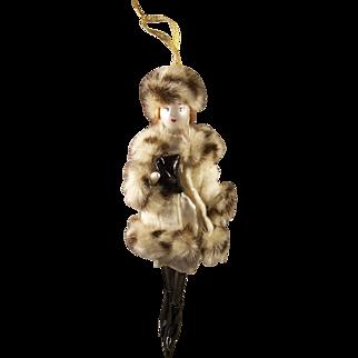 Vintage Ladies with Elegance Handpainted Mercury Glass Ornament Mink Hat