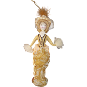 Vintage Ladies with Elegance Handpainted Mercury Glass Ornament Victorian Miss