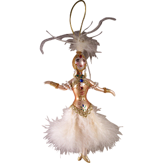 Vintage Ladies with Elegance Handpainted Mercury Glass Ornament Ziegfeld Follies Dancer