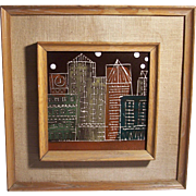 Vintage MCM Hand Painted Ceramic Tile Harris G. Strong Mid Century Modern City Skyline