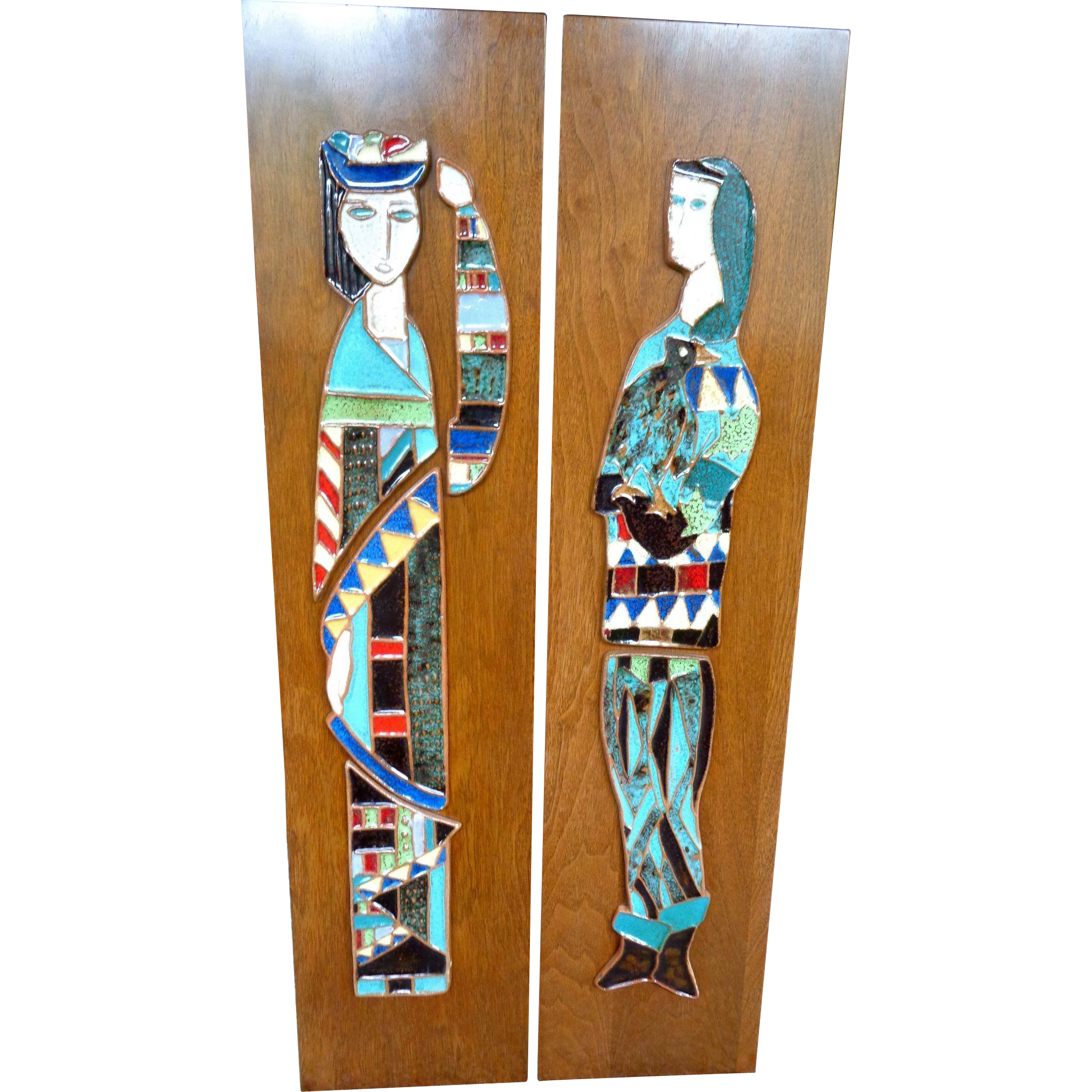 Mid Century HARRIS G. STRONG Large Ceramic Tile Wall Art