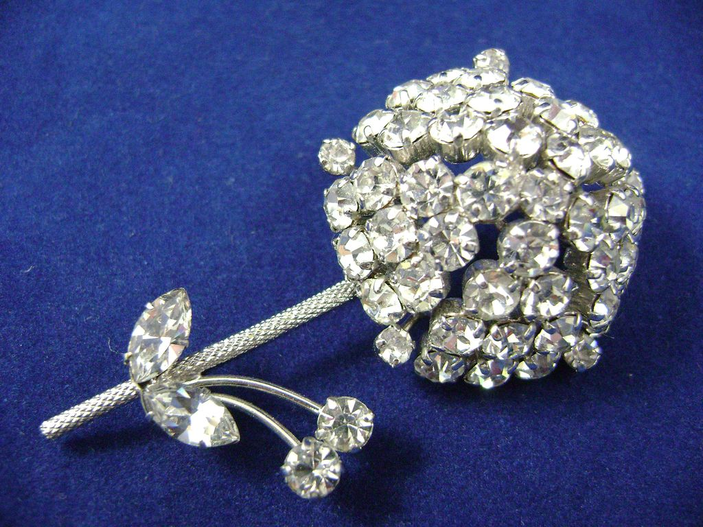 Awesome Dimensional Rhinestone Flower Pin Brooch Signed AUSTRIA