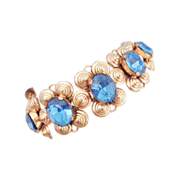 Early Ca. 1940's Stunning Blue Rhinestone Bracelet