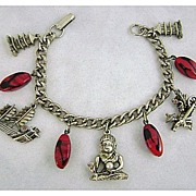 Vintage Asian Motif & Art Glass Charm Bracelet