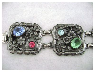 Vintage Open Work Floral Five Panel Rhinestone Bracelet