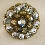 Sparkling Silver & Gold Crystal VENDOME Brooch
