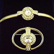 Stunning 1980's MONET Rhinestone Art Deco Style Bracelet & Pin