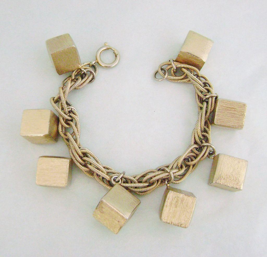 Unique Vintage NAPIER Cubes Charm Bracelet