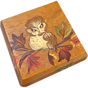 Vintage 1970's Hand Painted Owl Wood Box