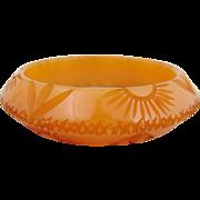 Vintage Uniquely Carved Southwestern Theme Bakelite Bracelet