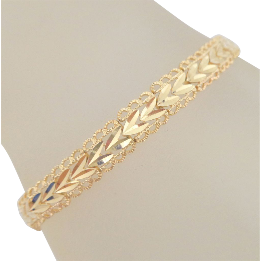 i s kids figaro gold cut solid link worldwide d yellow shipping bracelet diamond fast itm id kid