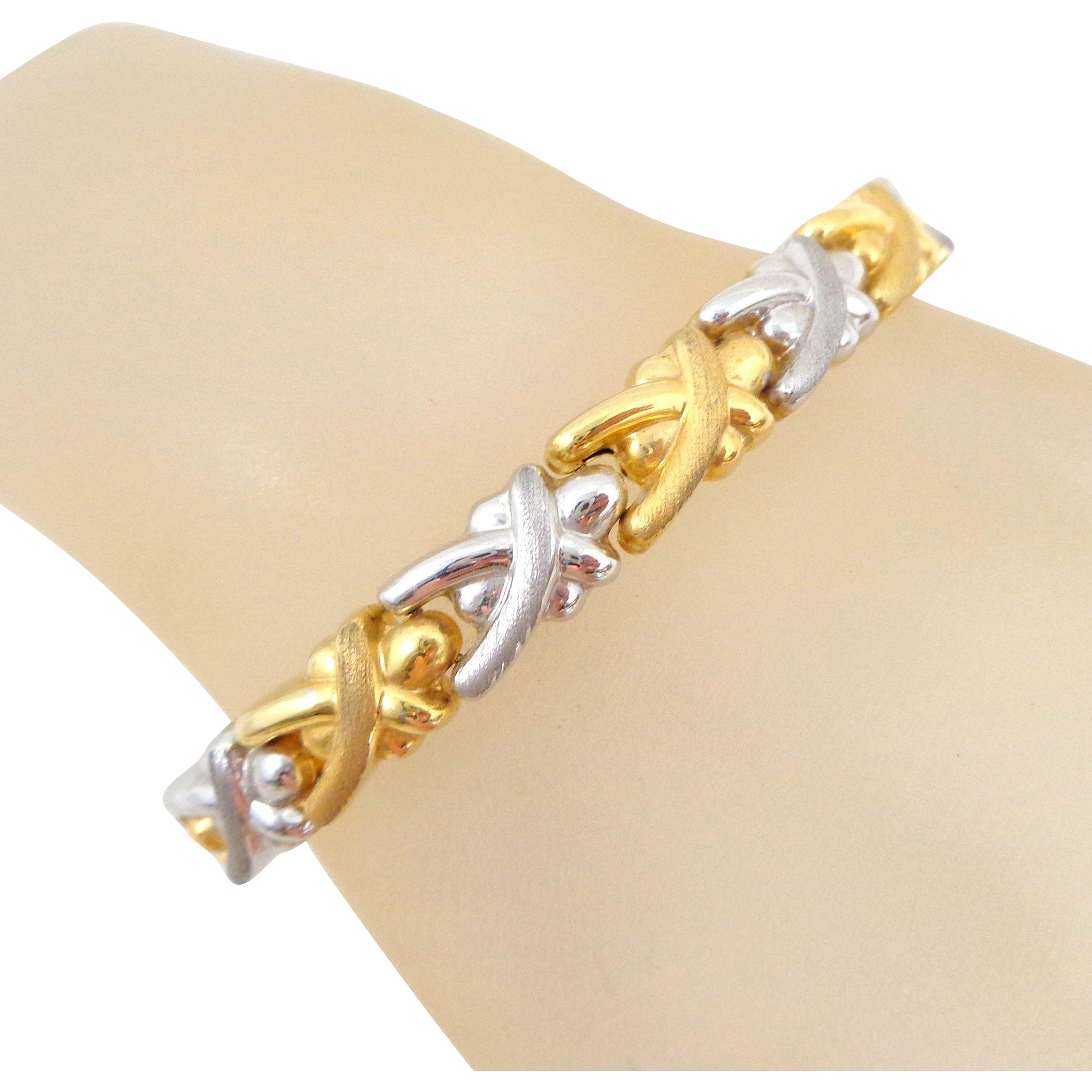 Estate 18K Italian Gold Two Tone Elongated X's Puffy Link Bracelet