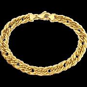 Estate 18K Italian Gold Double Curb Link Charm Bracelet