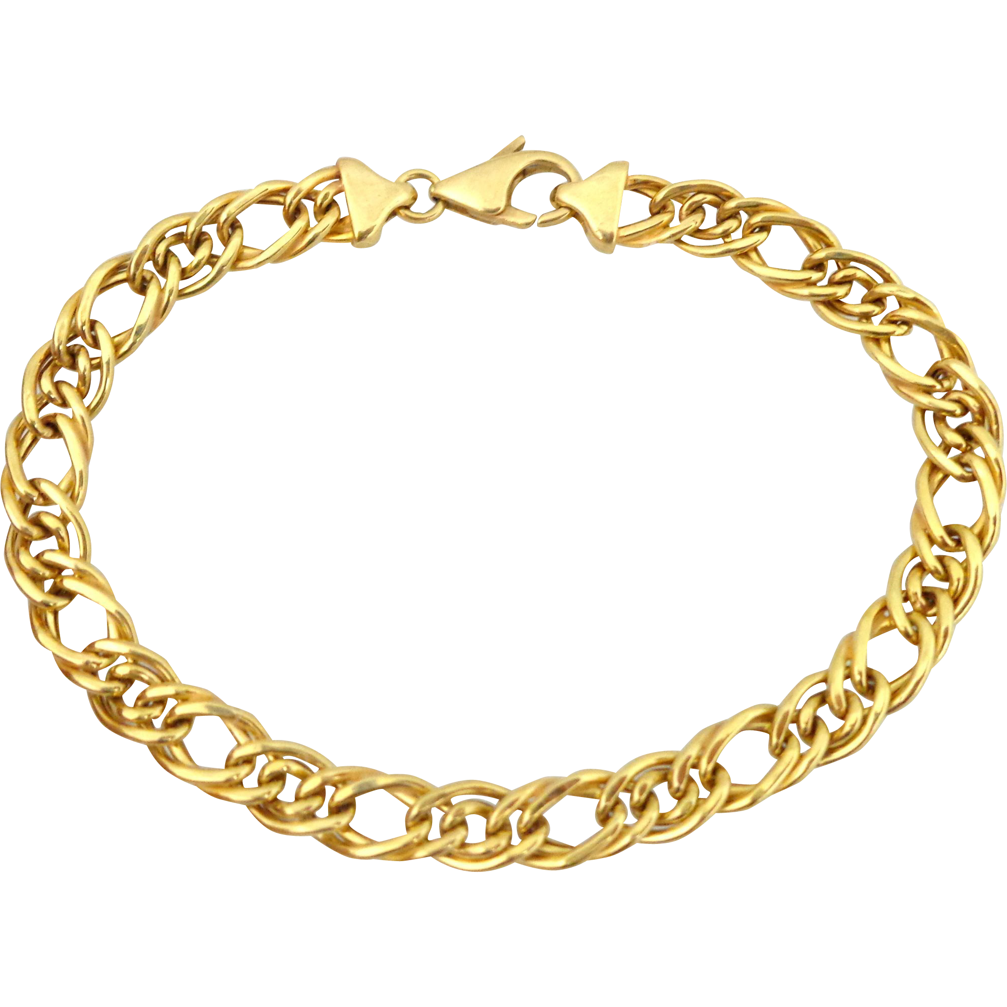 Estate 18K Italian Gold Double Curb Link Charm Bracelet