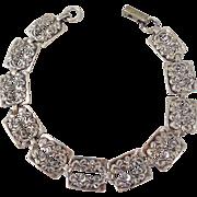 Vintage BEAU Sterling Silver Forget-Me-Nots Flower Repousse Links Bracelet