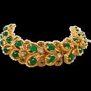 Vintage BOUCHER Faux Jade & Rhinestones Petals Bracelet