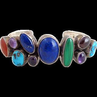 Vintage Native American Navajo NAKAI Sterling Silver Multi Stone Cuff Bracelet