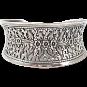Vintage Sterling Silver Pierced Floral Cuff Bracelet