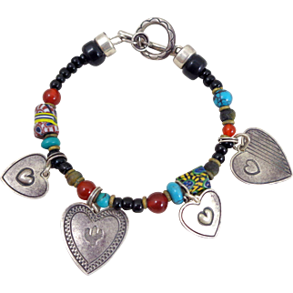 Vintage DON LUCAS Sterling Hearts Trade Beads Charm Bracelet