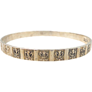 Vintage DANECRAFT Sterling Silver Fleur-de-Lis Bangle Bracelet