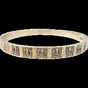 Vintage DANECRAFT Sterling Silver Fleur-de-Lis Bangle Bracelet