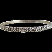 Vintage DANECRAFT Scrolls & Swirls Sterling Silver Bangle Bracelet