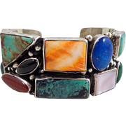 Exquisite Native American Navajo GARCIA Multi Stone Cuff Bracelet