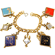 Gorgeous Chunky Vintage Heraldic Renaissance Charm Bracelet
