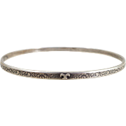 Early M.J. Co. Engraved Sterling Silver Bangle Bracelet