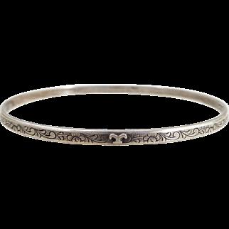 Early M.J. Co. Engraved Sterling Silver Bangle Bracelet
