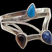 Estate Sterling Silver Modernist Multi-Gem Flower Bracelet Signed Mexico