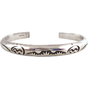 Vintage Native American Sterling Silver Bear Motif Cuff Bracelet