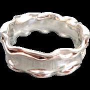 Unique BAT-AMI Israel Sterling Silver Crinkled Bangle Bracelet