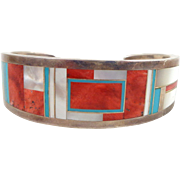 Vintage Native American MANYGOATS Navajo Coral Turquoise MOP Inlay Sterling Cuff