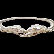 Estate Sterling Silver MILOR Italian Panther Heads Riccio Link Bracelet