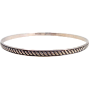 Vintage Sterling Silver Rope Design Bangle Bracelet