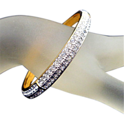 Vintage SWAROVSKI Swan Logo Pave Crystal Bangle Bracelet