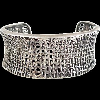 Wide SILPADA Sterling Silver Woven Mesh Cuff Bracelet