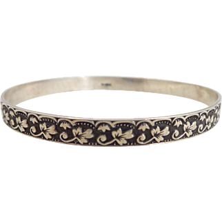 Early Sterling Silver Ivy and Leaf Bangle Bracelet