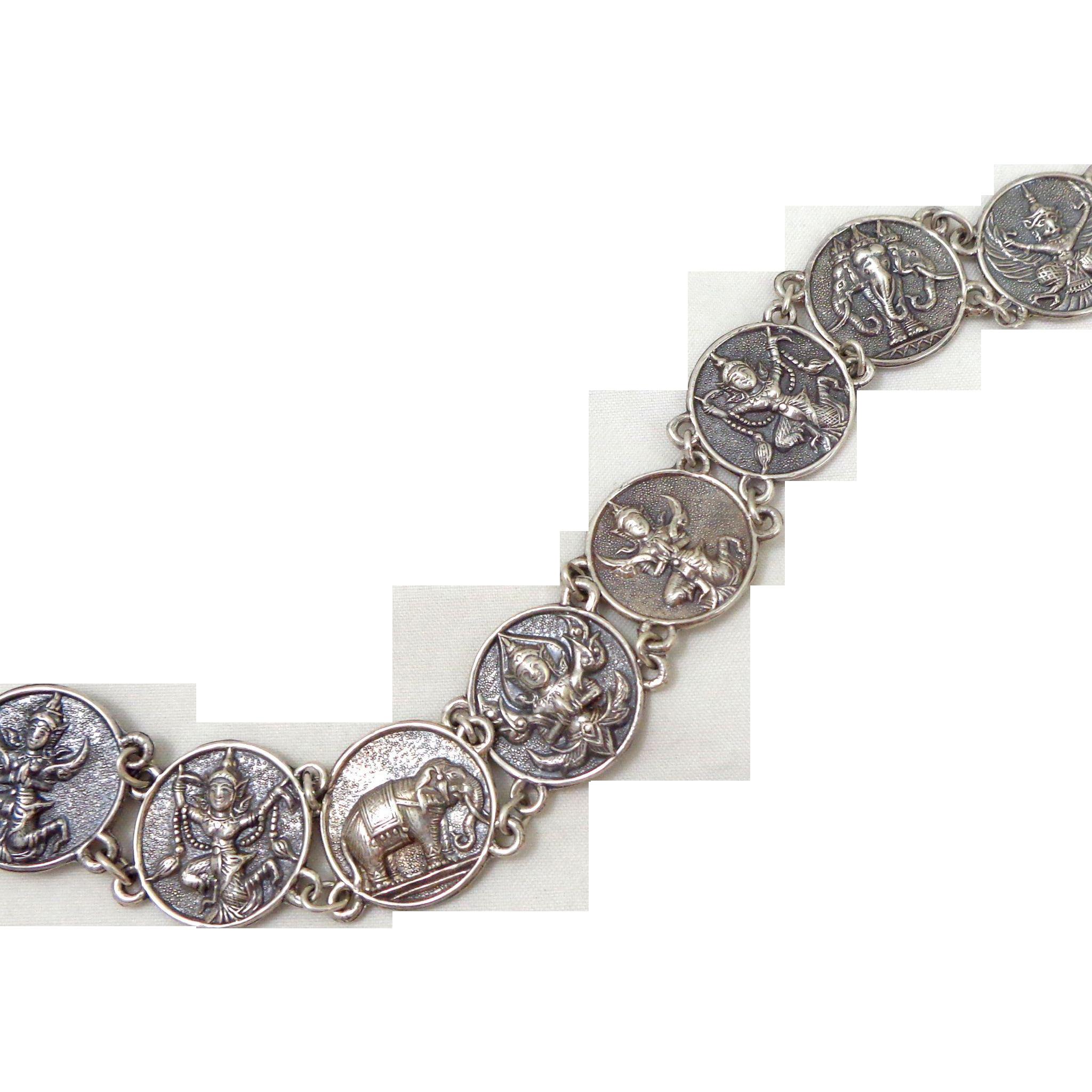 Vintage Sterling Silver Repousse Siamese Goddesses, Dancers & Elephants Bracelet