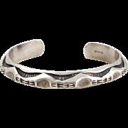 Vintage Heavy UNISEX Sterling Silver Southwestern Deeply Stamped Cuff Bracelet
