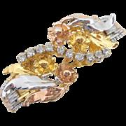 Estate Italian Sterling Silver Tri-Color Rhinestone Floral Bracelet
