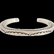 Vintage Heavy Navajo TAHE Sterling Silver Stamped Cuff Bracelet
