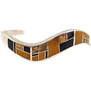 Estate Native American Navajo TEME Inlaid Sterling Silver Bracelet