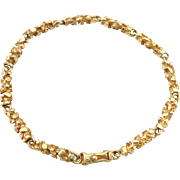 Estate 14k Yellow Gold Nugget Link Bracelet
